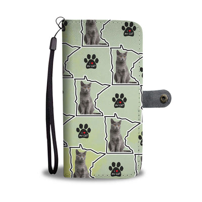 Chartreux Cat Print Wallet Case-Free Shipping-MN State - Deruj.com