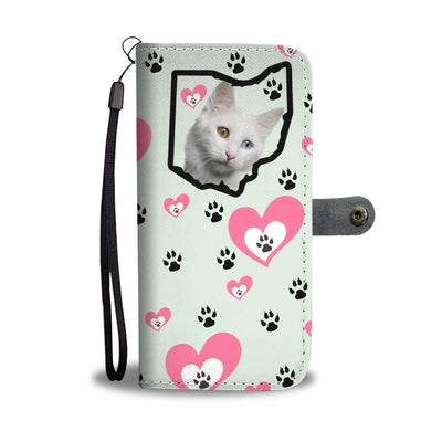 Turkish Angora Cat Heart With Paws Print Wallet Case-Free Shipping-OH State - Deruj.com