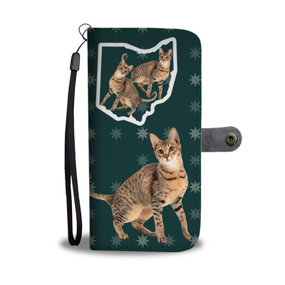 Savannah Cat Print Wallet Case-Free Shipping-OH State
