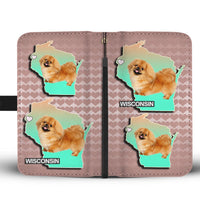 Cute Pekingese Dog On Hearts Print Wallet Case-Free Shipping-WI State - Deruj.com