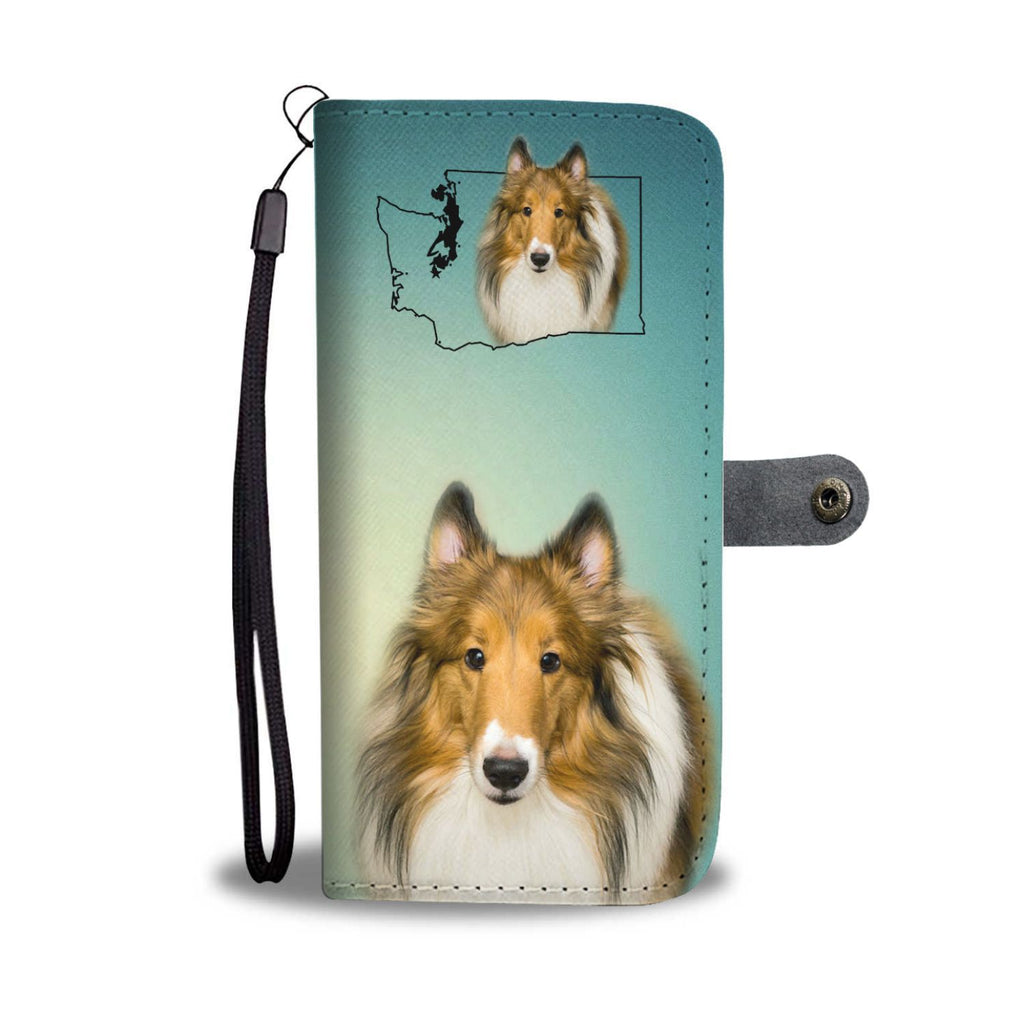 Rough Collie Print Wallet Case-Free Shipping-WA State - Deruj.com