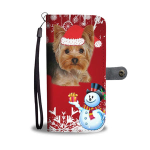 Yorkshire Terrier (Yorkie) Red Christmas Print Wallet Case-Free Shipping - Deruj.com
