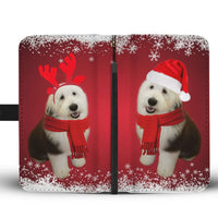 Old English Sheepdog Christmas Red Print Wallet Case-Free Shipping - Deruj.com