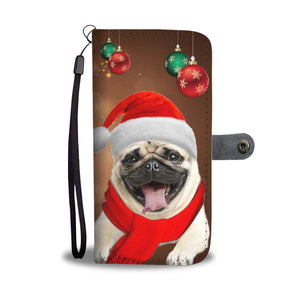 Cute Pug On Christmas Print Wallet Case-Free Shipping - Deruj.com