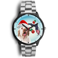 Clumber Spaniel On Christmas Florida Wrist Watch-Free Shipping - Deruj.com