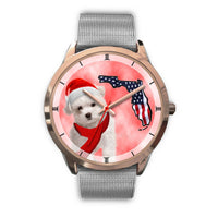 Cute Maltese On Christmas Florida Golden Wrist Watch-Free Shipping - Deruj.com