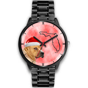 Staffordshire Bull Terrier On Christmas Florida Wrist Watch-Free Shipping - Deruj.com