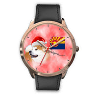 Akita Dog On Christmas Arizona Golden Wrist Watch-Free Shipping - Deruj.com