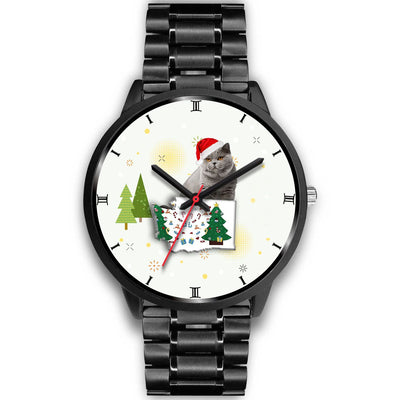British Shorthair Cat Washington Christmas Special Wrist Watch-Free Shipping - Deruj.com