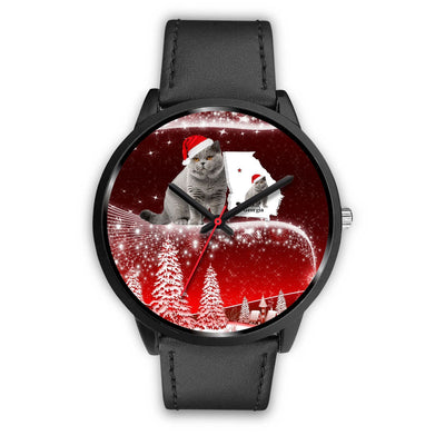 British Shorthair Cat Georgia Christmas Special Wrist Watch-Free Shipping - Deruj.com