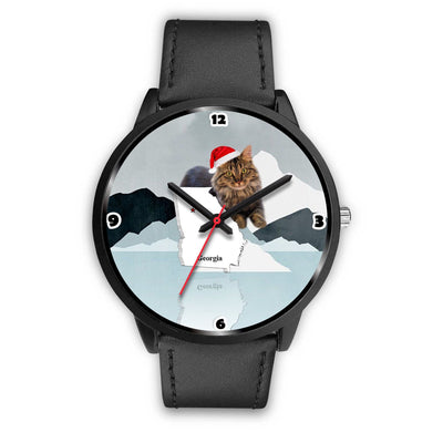 Cute Maine Coon Cat Georgia Christmas Special Wrist Watch-Free Shipping - Deruj.com