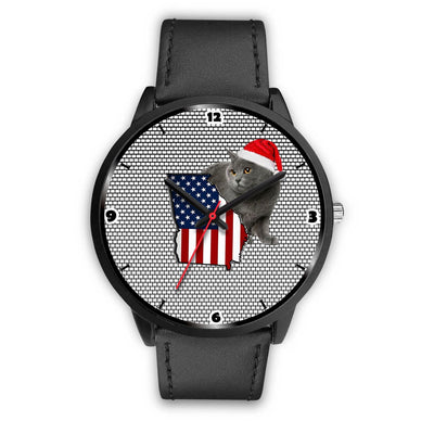 Chartreux Cat Georgia Christmas Special Wrist Watch-Free Shipping - Deruj.com