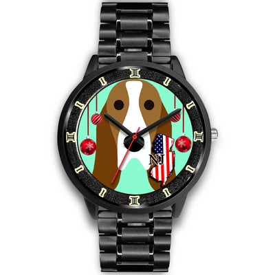 Basset Hound Dog Vector New Jersey Christmas Special Wrist Watch-Free Shipping