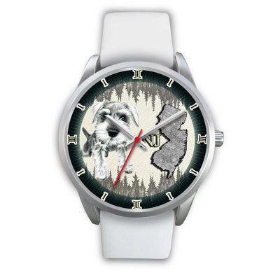 Cute Miniature Schnauzer Dog Sketch New Jersey Christmas Special Wrist Watch-Free Shipping - Deruj.com