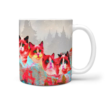 Ragdoll Cat On Mount Rushmore Print 360 Mug - Deruj.com