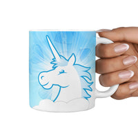 Smiley Unicorn Print 360 White Mug - Deruj.com