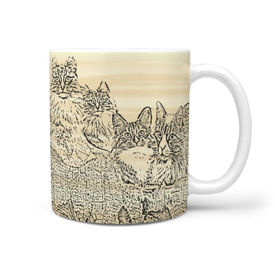 Norwegian Forest cat Mount Rushmore Print 360 White Mug - Deruj.com
