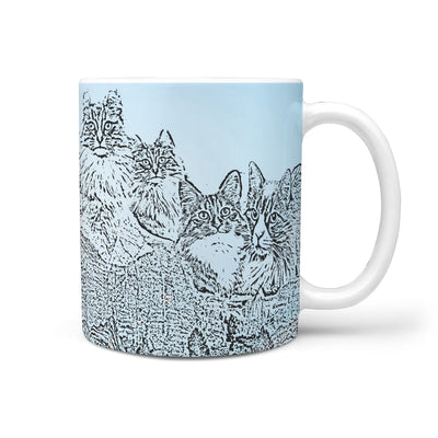 Norwegian Forest cat Blue Mount Rushmore Print 360 White Mug - Deruj.com