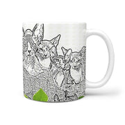 Sphynx Cat Mount Rushmore Print 360 White Mug