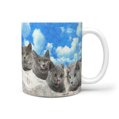 Russian Blue Cat Art Mount Rushmore Print 360 Mug