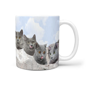 Russian Blue Cat On Mount Rushmore Print 360 Mug - Deruj.com