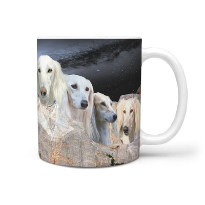 White Saluki Dog On Mount Rushmore Print 360 Mug - Deruj.com