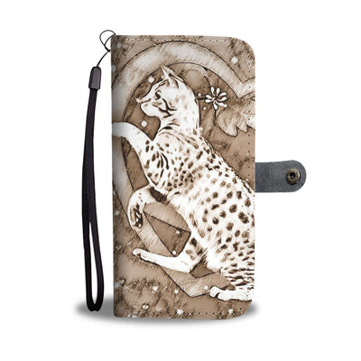 Ocicat in heart Print Wallet Case-Free Shipping - Deruj.com