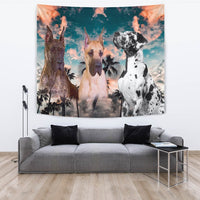 Great Dane Dog On Blue Print Tapestry-Free Shipping - Deruj.com