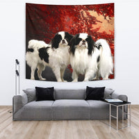 Japanese Chin On Red Print Tapestry-Free Shipping - Deruj.com