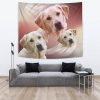 Labrador Retriever On Soft Cream Print Tapestry-Free Shipping - Deruj.com