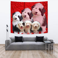 Old English Sheepdog On Red Print Tapestry-Free Shipping - Deruj.com
