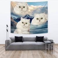 White Persian Cat On Mountain Print Tapestry-Free Shipping - Deruj.com