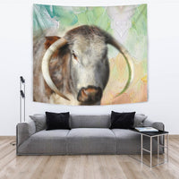 Amazing English Longhorn Cattle (Cow) Print Tapestry-Free Shipping - Deruj.com