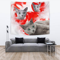 Russian Blue Cat On Red Print Tapestry-Free Shipping - Deruj.com