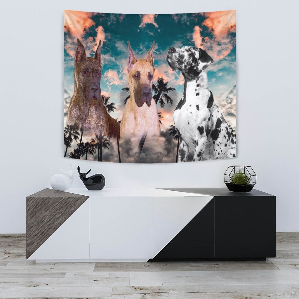 Great Dane Dog On Blue Print Tapestry-Free Shipping