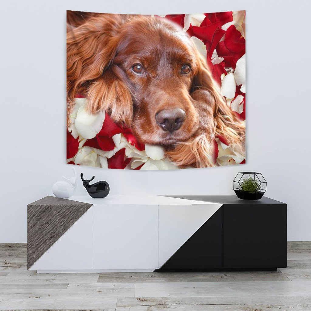 Irish Setter On Red Print Tapestry-Free Shipping - Deruj.com
