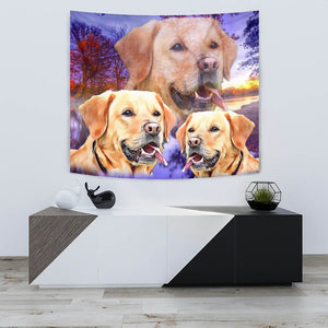Labrador Retriever On Voilet Print Tapestry-Free Shipping - Deruj.com