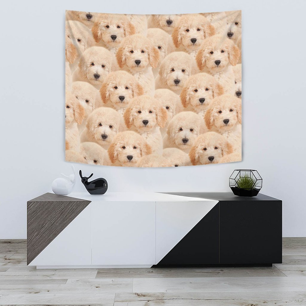 Golden Retriever In Lots Print Tapestry-Free Shipping - Deruj.com