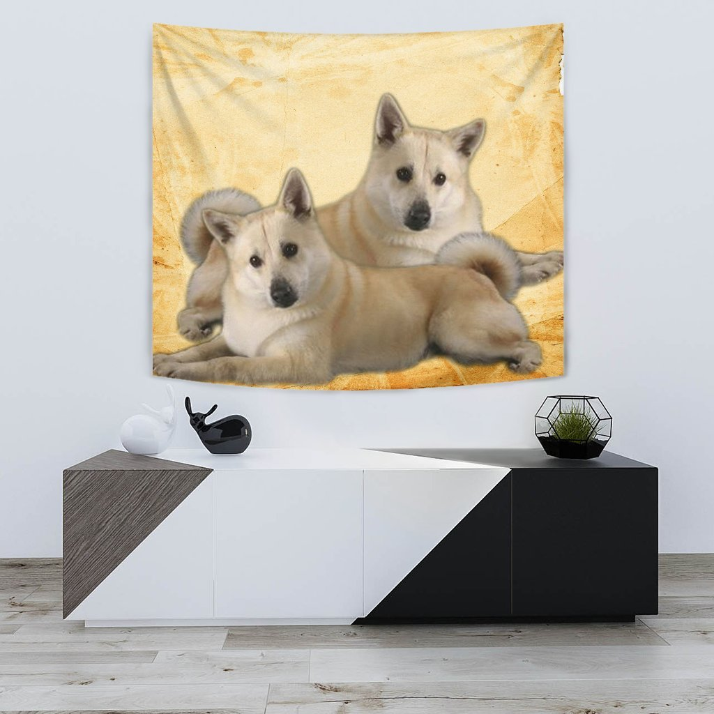 Norwegian Elkhound On Yellow Print Tapestry-Free Shipping - Deruj.com