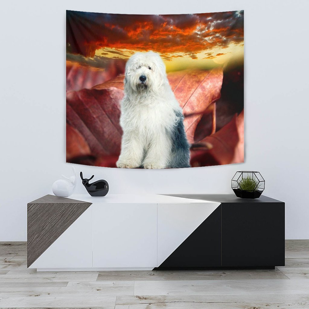 Old English Sheepdog Print Tapestry-Free Shipping - Deruj.com