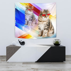 Cute Siberian Cat With Red Glasses Print Tapestry-Free Shipping - Deruj.com