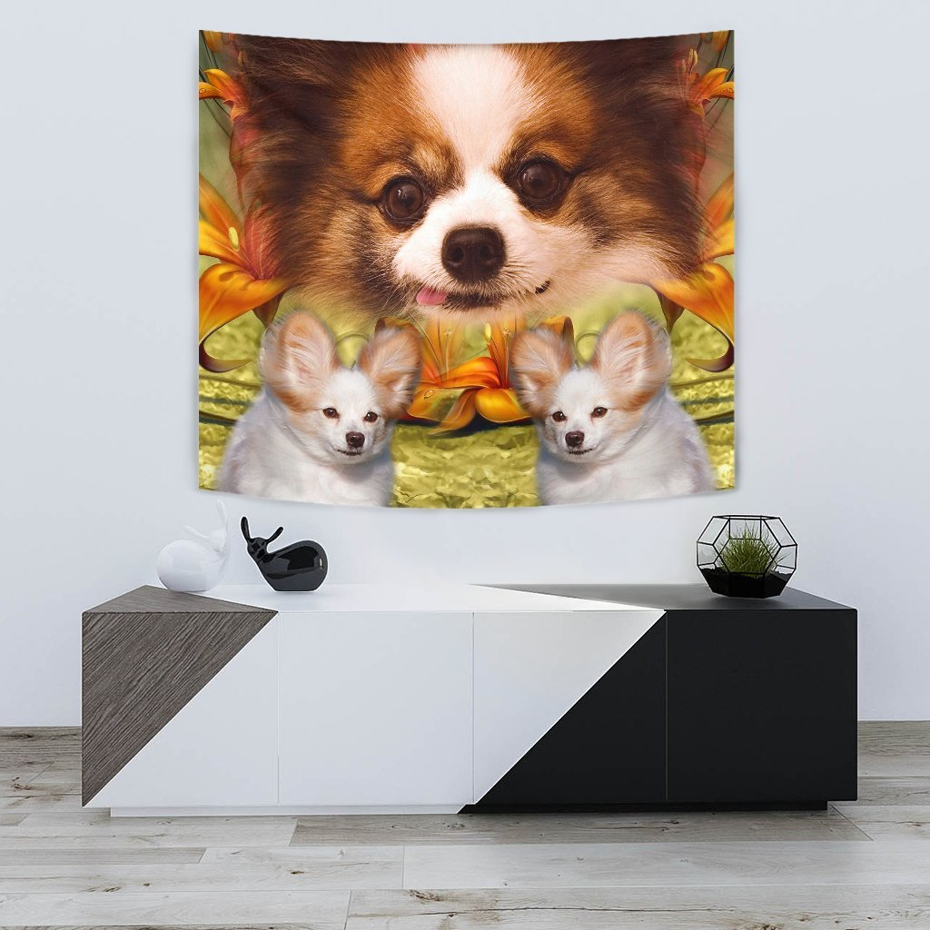 Cute Papillon Dog Print Tapestry-Free Shipping - Deruj.com