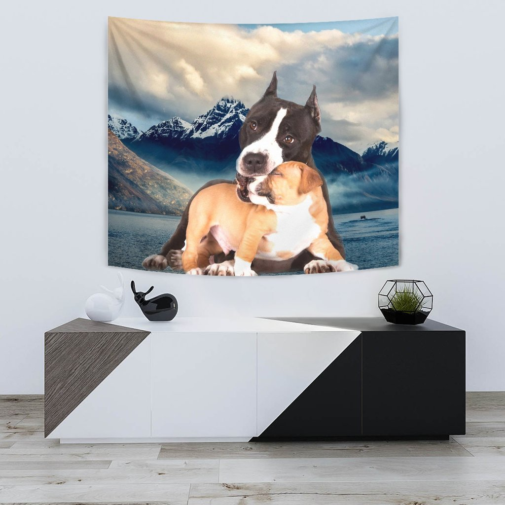 Pit Bull Terrier With Puppy Print Tapestry-Free Shipping - Deruj.com