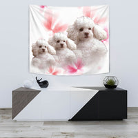 Cute Poodle On Soft Pink Print Tapestry-Free Shipping - Deruj.com