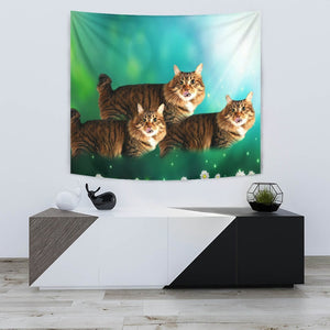 Cute American Bobtail Cat Print Tapestry-Free Shipping - Deruj.com