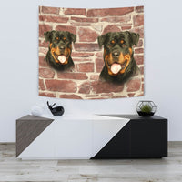 Lovely Rottweiler On Wall Print Tapestry-Free Shipping - Deruj.com