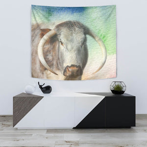 English Longhorn Cattle (Cow) Print Tapestry-Free Shipping - Deruj.com