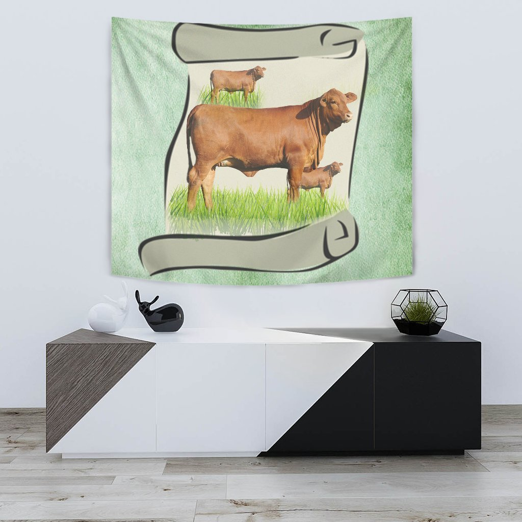 Hand Crafted Red Brangus Cattle Print Tapestry-Free Shipping - Deruj.com