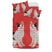 Japanese Bobtail Cat Print On Red Bedding Set-Free Shipping - Deruj.com