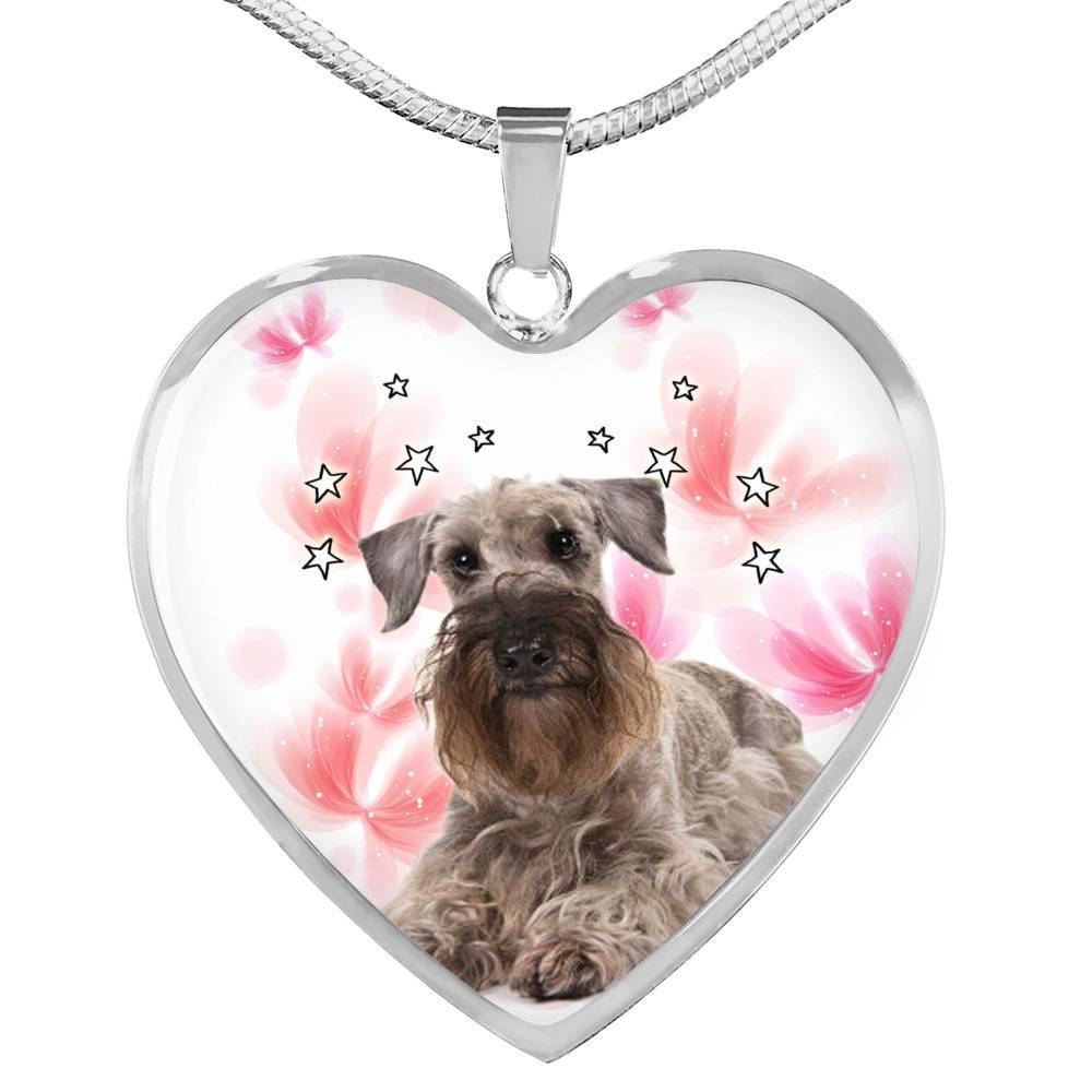 Cesky Terrier Print Heart Pendant Luxury Necklace-Free Shipping - Deruj.com